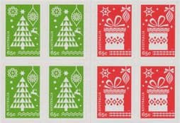 Australian Stamps 2014 SG4288-9 Christmas 2014 Festive Stamps self-adhesive set of 2 from booklet (exSB489) blocks of 4
